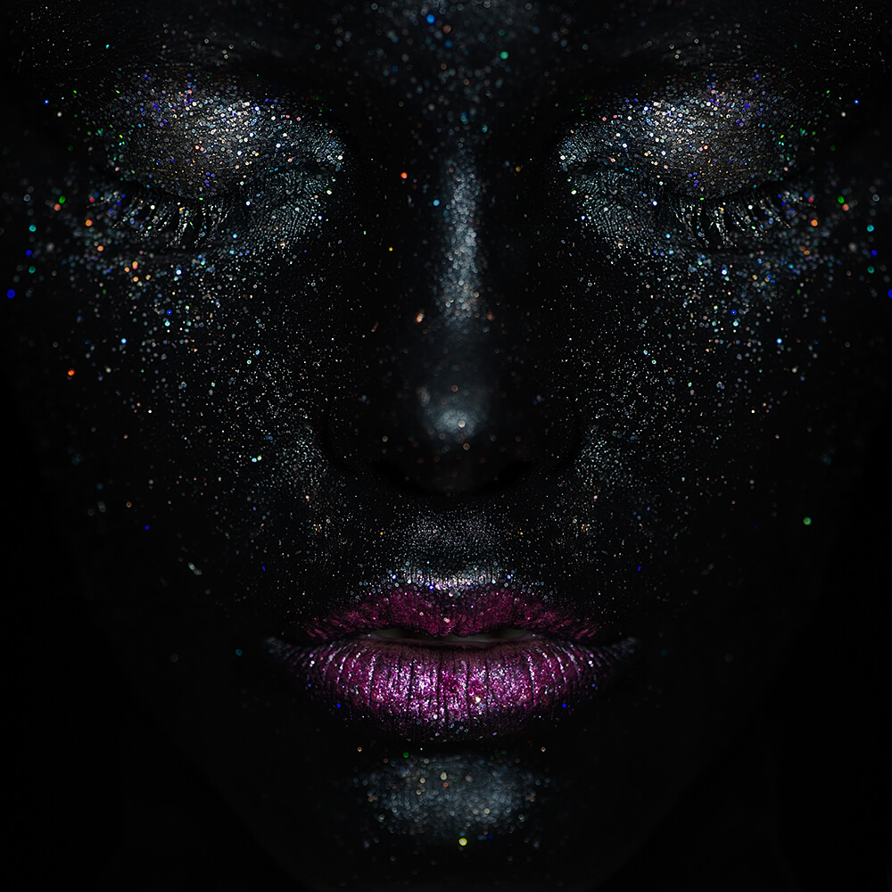 beauty, glitzer, glitter, make up, mac, teresa kodolitsch, ferman ab, dark,