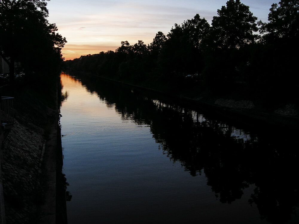 berlin, neukölln, sonnenalle, kanal, sonnenuntergang, deutschland, natur, kitsch