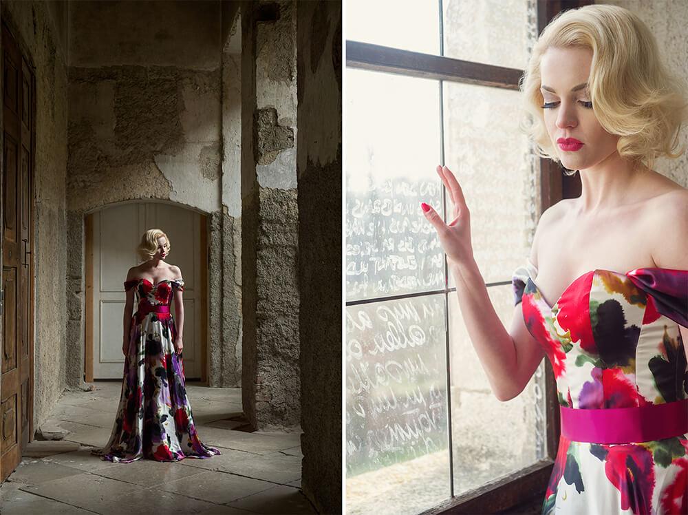 irina hofer, ursula schmitz, dream shoot, destination shoot, portrait, fashion, vintage inspred, evening gown, elegant