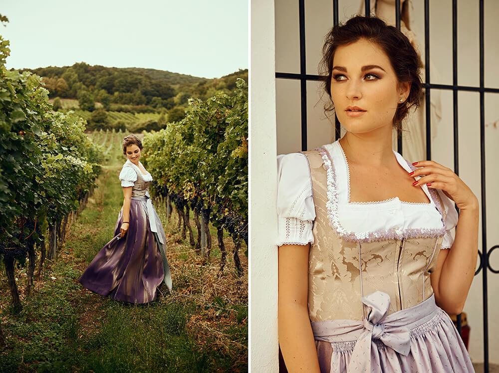 dirndl, tracht, portrait, autumn, indian summer, gumpoldskirchen, austria, destination shoot, ursula schmitz, wine yards, wine