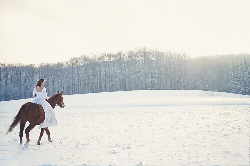 ursula schmitz, portrait, photography, vienna, austria, destination, winter, snow, wonderland, sunshine, early morning, horse, girl, beauty